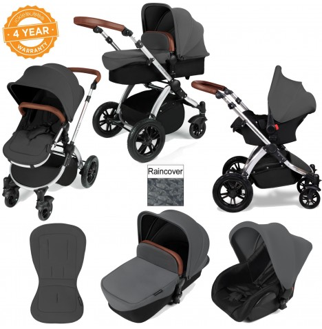 ickle bubba Stomp V2 Silver 3 in 1 Travel System - Graphite Grey