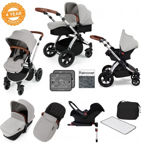 Ickle bubba Stomp V3 Silver All In One Travel System & Isofix Base - Silver