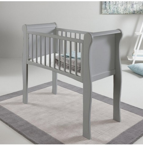 Little Acorns Sleigh Crib & Foam Mattress - Grey..