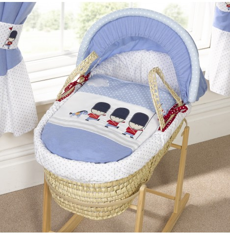 Bizzi Growin Designer Padded Palm Moses Basket - Night Night Soldier