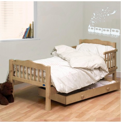 4Baby Sara Junior Toddler Bed With Sprung Deluxe Mattress - Natural Beech