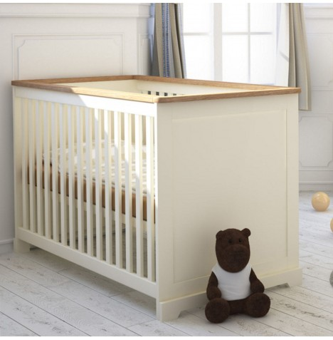Little Acorns Ava Cot Bed - Ivory / Oak