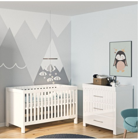 Little Acorns Snow High Gloss 4 Piece Nursery Room Set - Cot Bed With Deluxe 4inch Foam Mattress & Dresser - White