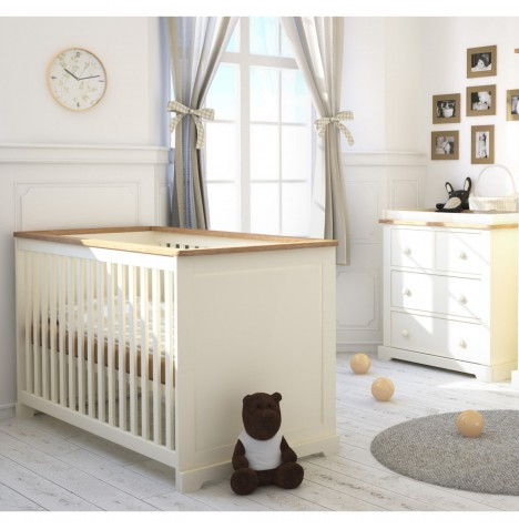 Little Acorns Ava 4 Piece Nursery Room Set - Cot Bed With Deluxe 4inch Foam Mattress & Dresser - Ivory / Oak