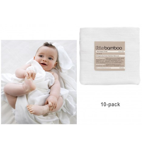 Little Bamboo Muslin Squares (10 Pack) - Natural White