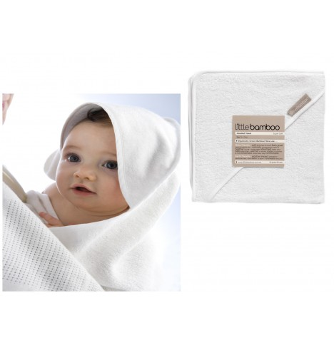 Little Bamboo Towelling Hooded Towel - Natural White