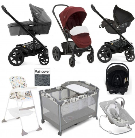 Joie Chrome DLX Everything You Need Gemm Travel System (With Carrycot) Bundle  - Cranberry / Pavement