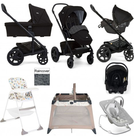 Joie Chrome DLX Everything You Need Gemm Travel System (With Carrycot) Bundle  - Dots Black