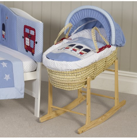 Bizzi Growin Deluxe Padded Palm Moses Basket & Rocking Stand - Night Night Soldier..