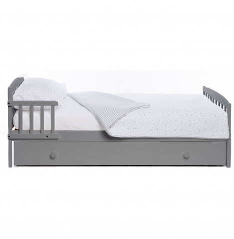 Little Acorns 3 Piece Toddler Bed With Drawer & Deluxe Foam Mattress - Grey