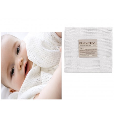 Little Bamboo Airflow Cellular Cot / Cotbed Blanket - Natural White