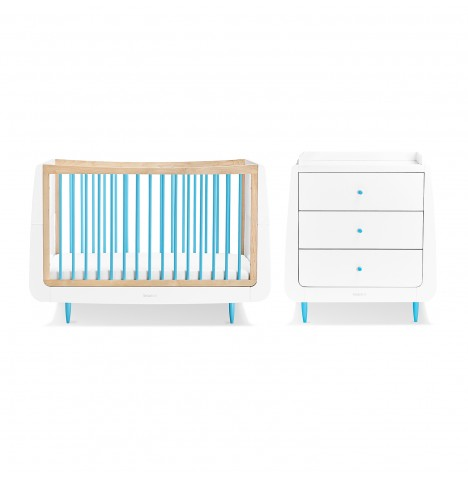 Snuz SnuzKot Skandi 4 Piece Nursery Furniture Room Set - Blue