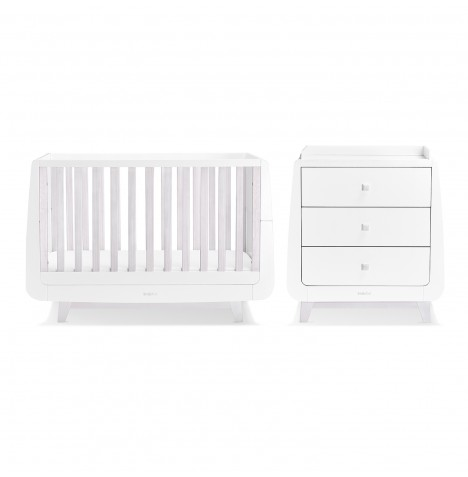 Snuz SnuzKot Luxe 4 Piece Nursery Furniture Room Set - White Wash