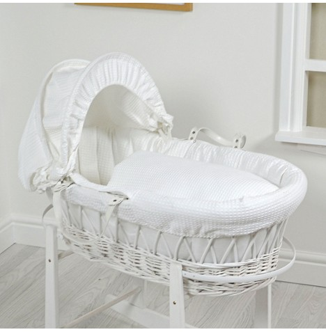 4Baby Luxury Padded White Wicker Baby Moses Basket - White Waffle