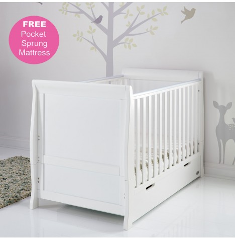 Obaby Stamford Classic Sleigh Cot Bed & Pocket Sprung Mattress - White