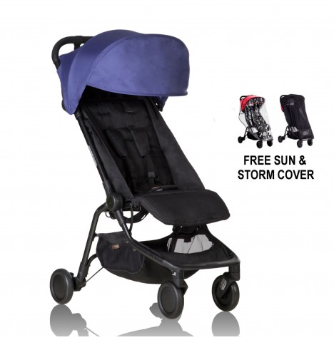 Mountain Buggy Nano Stroller With All Weather Cover Set - Nautical