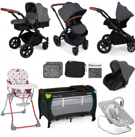 Ickle Bubba / Joie Stomp V2 Black Everything You Need Travel System Bundle - Graphite Grey