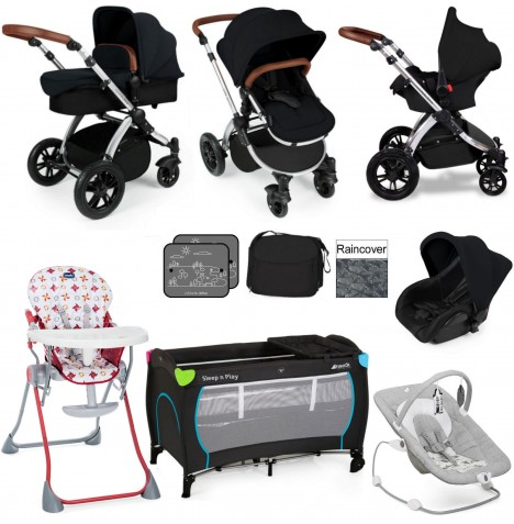 Ickle Bubba / Joie Stomp V2 Silver Everything You Need Travel System Bundle - Black