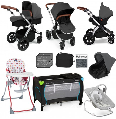 Ickle Bubba / Joie Stomp V2 Silver Everything You Need Travel System Bundle - Graphite Grey