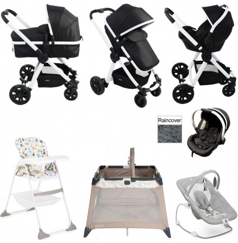 Red Kite / Joie Push Me Fusion Everything You Need Travel System Bundle - Galaxy