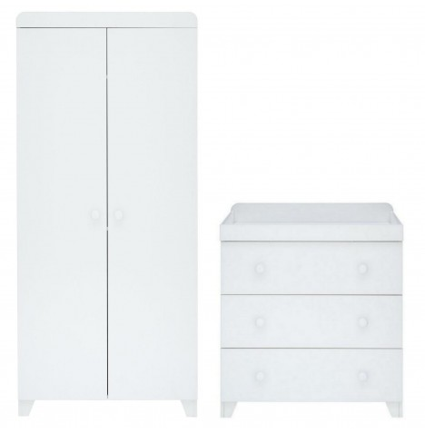 Little Acorns Classic Milano Wardrobe & Dresser - White