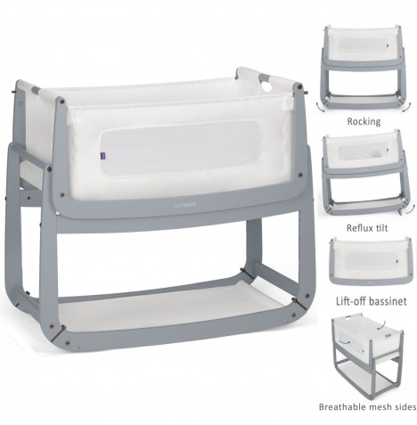 Snuz SnuzPod3 Bedside Crib 3 in 1 With Mattress - Dove Grey..