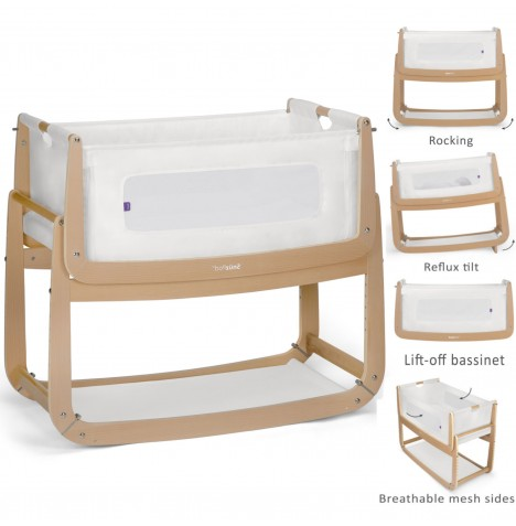 Snuz SnuzPod3 Bedside Crib 3 in 1 With Mattress - Natural..