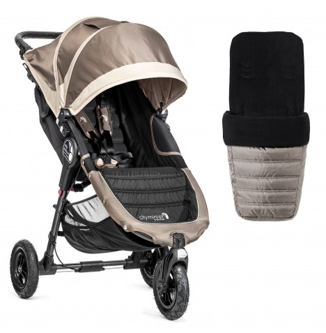 New Baby Jogger City Mini GT Single Stroller With Footmuff - Stone