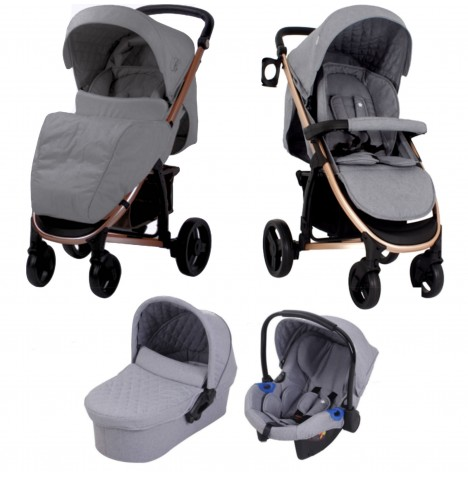 My Babiie MB200+ *Billie Faiers Collection* Travel System & Carrycot - Rose Gold & Melange Grey