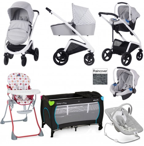 My Babiie / Joie *Sam Faiers Collection* MB300+ Everything You Need Travel System Bundle - Grey Stripes
