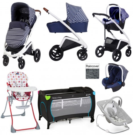 My Babiie / Joie *Sam Faiers Collection* MB300+ Everything You Need Travel System Bundle - Blue Stripes