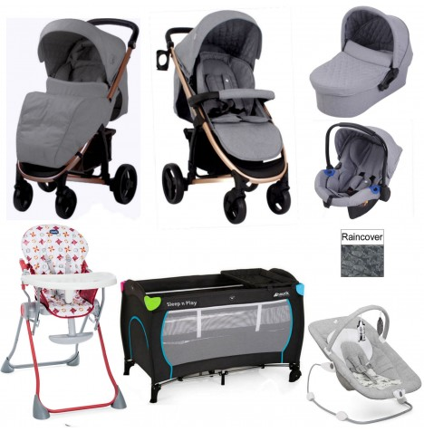 My Babiie / Joie *Billie Faiers Collection* MB200+ Everything You Need Travel System Bundle - Rose Gold / Melange Grey
