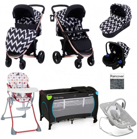 My Babiie / Joie *Katie Piper Collection* MB200+ Everything You Need Travel System Bundle - Rose Gold / Chevron
