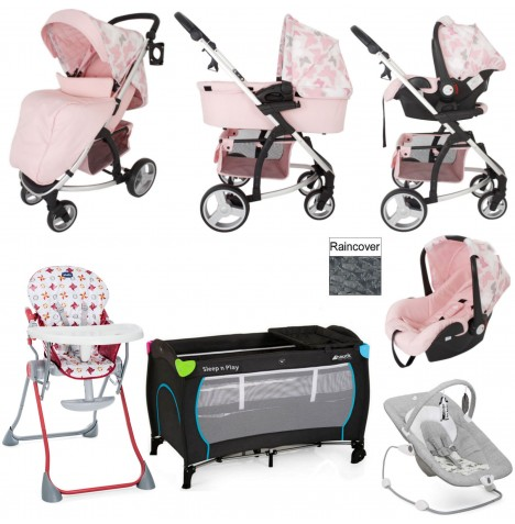 My Babiie / Joie *Katie Piper Collection* MB200+ Everything You Need Travel System Bundle - Pink Butterflies
