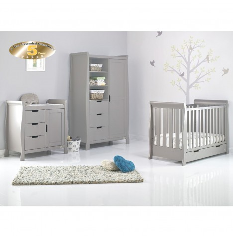 Obaby Stamford Mini 3 Piece Nursery Room Set - Warm Grey