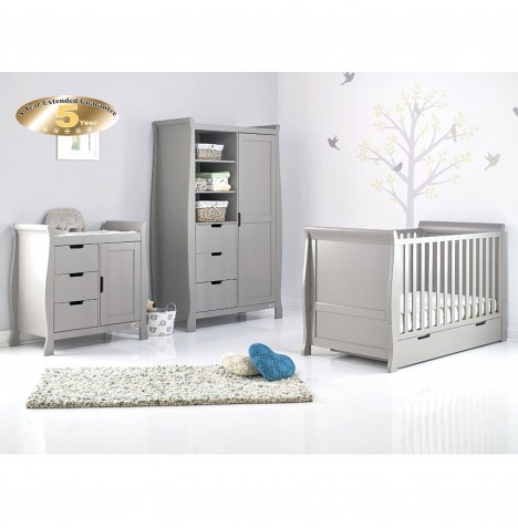 Obaby Stamford Classic Sleigh 3 Piece Nursery Room Set - Warm Grey
