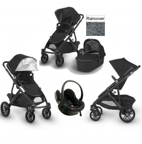 Uppababy Vista (2018) Travel System (Includes x1 BeSafe Car Seat) & Carrycot - Jake Black