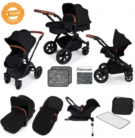 Ickle bubba Stomp V3 Black All In One Travel System & Isofix Base - Black..