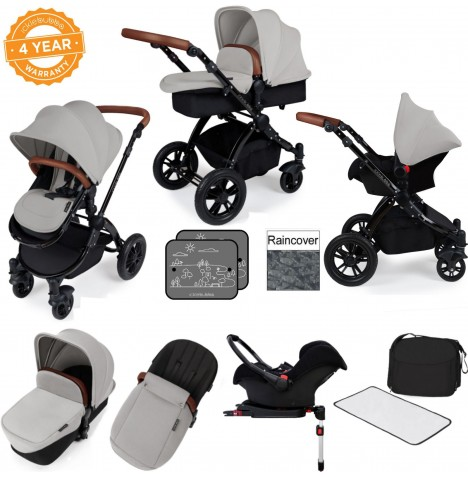 Ickle bubba Stomp V3 Black All In One Travel System & Isofix Base - Silver..