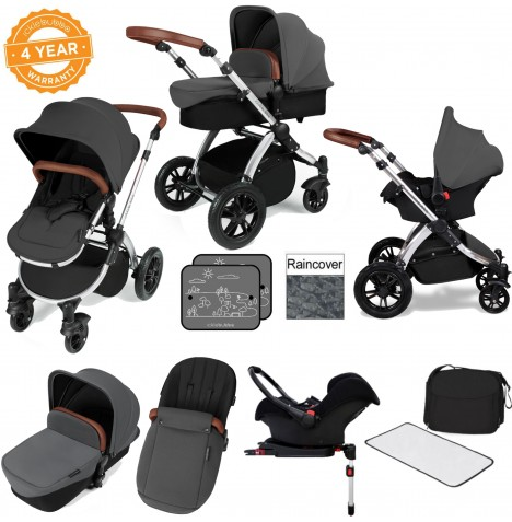 Ickle bubba Stomp V3 Silver All In One Travel System & Isofix Base - Graphite Grey..