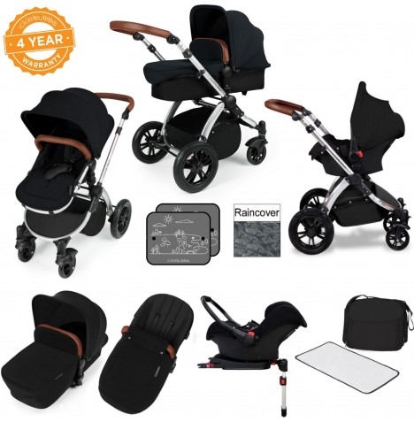 Ickle bubba Stomp V3 Silver All In One Travel System & Isofix Base - Black..