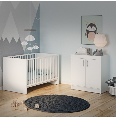 Little Acorns Santorini 4 Piece Nursery Room Set - Cot Bed With Deluxe 4inch Foam Mattress & Dresser - White