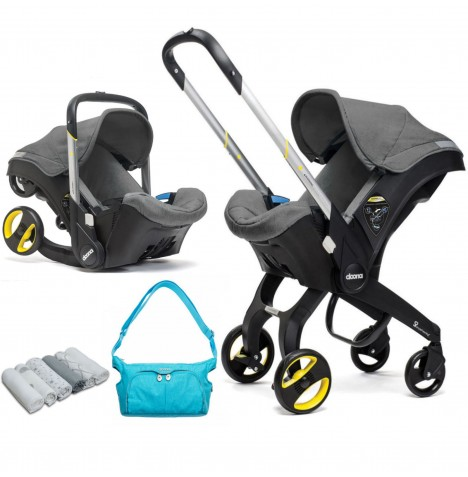 Doona Infant Car Seat / Stroller With Raincover & Essentials Changing Bag - Storm / Sky