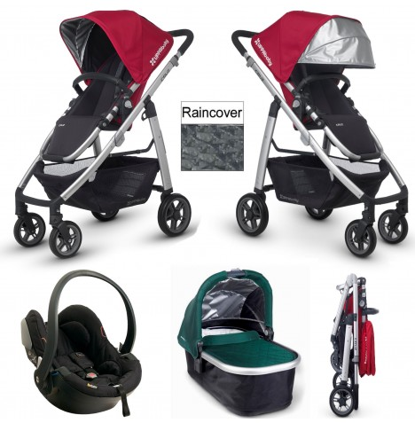 Uppababy Cruz Travel System & Carrycot - Denny Red / Ella Green