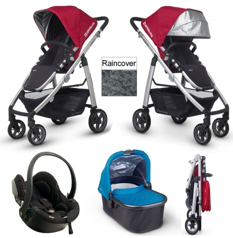 Uppababy Cruz Travel System & Carrycot - Denny Red / Georgie Blue