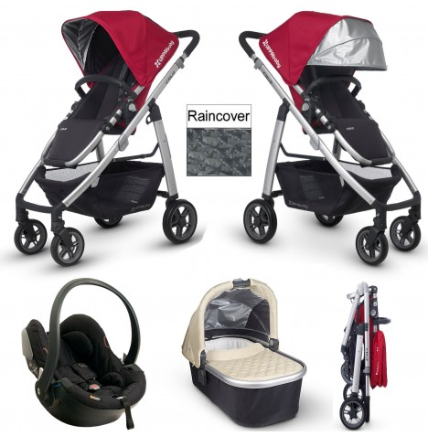 Uppababy Cruz Travel System & Carrycot - Denny Red / Lindsey Wheat