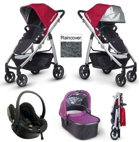 Uppababy Cruz Travel System & Carrycot - Denny Red / Samantha Purple
