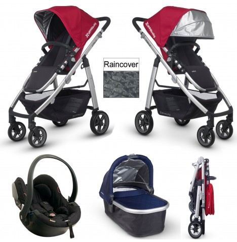 Uppababy Cruz Travel System & Carrycot - Denny Red / Taylor Navy