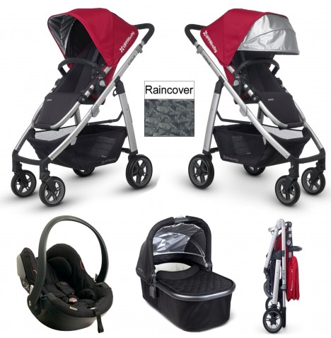 Uppababy Cruz Travel System & Carrycot - Denny Red / Jake Black