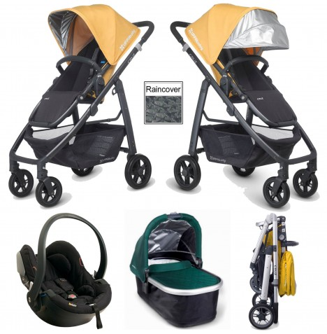 Uppababy Cruz Travel System & Carrycot - Maya Yellow / Ella Green
